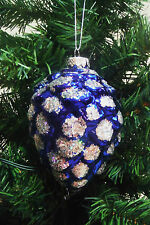 GLASS BLUE PINECONE ORNAMENT w/SILVER SPARKLY GLITTER ACCENTS (BEAUTIFUL) 5''X3.