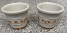 Longaberger Candy Corn Votives Candle Holders Cups Pottery (Set of 2) In Box