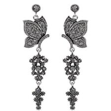 Stunning Long Vintage Silver Grey Crystal Butterfly Statement Earrings