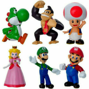 Super Mario Bros Peach Toad Mario 6 PCS Game Action Figure Doll Toys Kids Gift