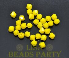 100pcs 4mm Bicone Faceted Crystal Glass Loose Spacer Beads Porcelain Yellow