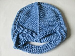 HAND KNITTED BABY HELMET in DENIM BLUE with SIZE NEW BORN (6)