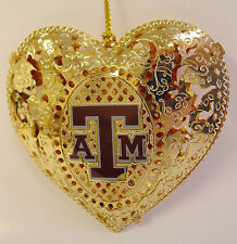 Texas A&M gold plated Heart Ornament