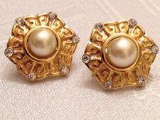 Kenneth Jay Lane KJL Gold Tone Clear Crystal Faux Pearl Pierced Earrings