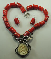 Statement Coral Necklace  Carved Buffalo Bone Rose Earring Set Mother of Bride