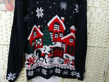winter wonderland Christmas jumper sweater acrylic chunky  slouchy black L