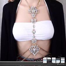 Women Crystal Rhinestone Long Pendant Belly Waist Body Chain Harness Jewelry