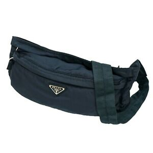 PRADA Tessuto Nylon Waist Pouch Bum Body Belt Bag Fanny Pack Navy Blue Unisex