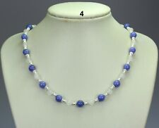 Purple white jade stone bead necklace, silver spacers stardust balls lilac mauve