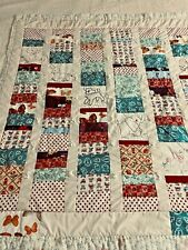 "Vintage Handmade Scrappy Patchwork & Embroidered Quilt 40"" x 45""  #175"