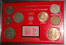 La campagne contre la faim coin & stamp collection affichage ensemble cadeau 1963