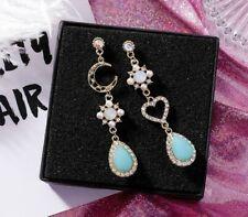 Betsey Johnson green rare rhinestone moon star drop earrings women fashion jewel