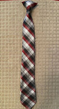 Boy's Clip On Tie, Red, Black, Grey & White Plaid/Check, 17 Inches