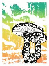 "Agaricus Mushroom 9x12"", NW Coast Haida Formline Screenprint, Seattle Artist"