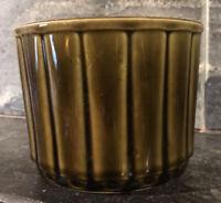 vtg MCCOY POTTERY PLANTER USA Green MCM DECO Ribbing cylinder pot