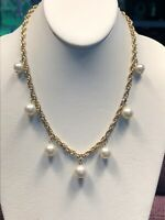 Vintage Gold Rope Chain statement White Pearl Dangle Charm Statement Necklace