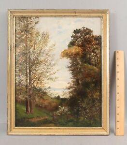 Antique 19thC Barbizon School Wooded Coastal Landscape & Woman Painting, NR