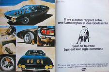 PUBLICITÉ DE PRESSE 1970 LAMBORGHINI ESPADA ET CHAUSSURES GOULASCHKI