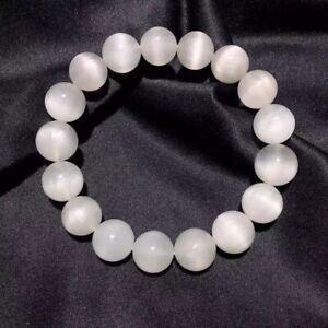 12.8mm Natural White Rutilated Hair Quartz Cat Eye Crystal Beads Bracelet AAAAA