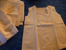vintage ,pour couturiére ,chemisette bébé,poupée a terminer +tissus blancs  neuf