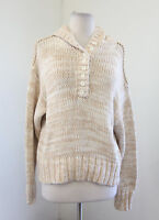 Soft Surroundings Beige White Chunky Knit Pullover Hooded Sweater Size M