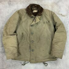 WWII US Navy N1 Deck Jacket USN 38 NXsx 1944 Contract Repaired Hand Stitch 40s