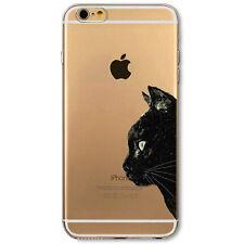 Pellicola+Custodia TPU cover sottile Gatto Nero iPhone 6 6S case trasparente