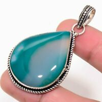 "Aqua Lace Agate Handmade Ethnic Style Jewelry Pendant 1.97"" MS0168"