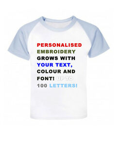 Personalised Your Text Embroidery Baseball Baby/Children T-shirt, Birthday Gift