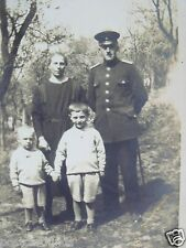 RPPC MILITARY MAN IN UNIFORM WITH WIFE & CHILDREN OLD REAL PHOTO B&W POSTCARD PC