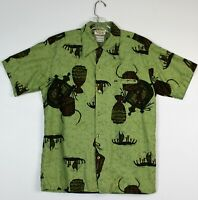 Vintage 60's Men's GO BAREFOOT IN PARADISE Of Honolulu Hawaiian Shirt Size M
