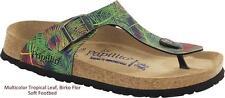 BIRKENSTOCK PAPILLIO GIZEH MULTICOLOR TROPICAL LEAF SOFT FOOTBED WOMEN'S SANDALS