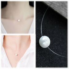 Women Simple Single 12mm White Pearl Floating Illusion Necklace Bride Bridesmaid