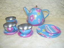 CHILD'S TIN TEA SET TEAPOT CUPS PLATES  11 PC  SCHYLLING 2007