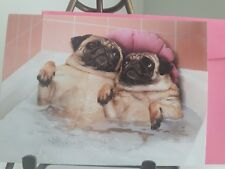 "New Old Stock AVANTI VALENTINES DAY CARD Pug Dogs Bath TUB  ""I LOOFA YOU"""