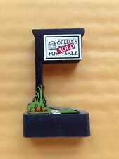 SHELIA'S COLLECTIBLES FOR SALE SIGN SOLD SIGN WOODEN SHELF FIGURINE, GENUINE