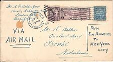 USA 1932 Los Angeles Olympic franking airmail cover to Holland via Paris Avion