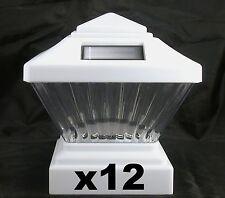 12 Solar Fence Lights - Fits 4X4 PVC/VINYL Posts - White Post Cap PL246W