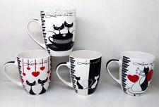 Coffee Mugs Set of 4 Love Cats Kitten Designs Tea Cup Bone China mugs-AU H1551