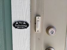 Small Elegant No Soliciting Romark style Plastic Sign | Adhesive Strip on Back