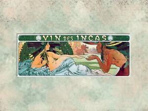 1896 ALPHONSE MUCHA  VIN DES INCAS  COCAINE  WINE ADVERTISEMENT, CANVAS PRINT