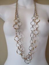 Banana Republic Metallic Rattan Layered Necklace  NWT $45.00 GOLD SLVR SET OF 2