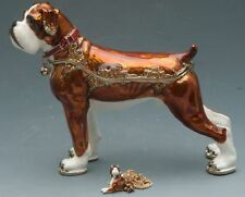 Standing Boxer Bejeweled Box with Matching Necklace Portman Studios NEW!