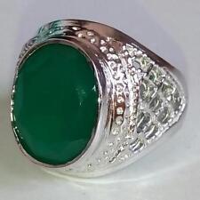 925 Sterling Silver Green Onyx Gem Stones Rings Men's Jewelery Us Size 8