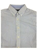 Nautica Blue Plaid 100% Cotton Long Sleeve Dress Shirt 16 32/33