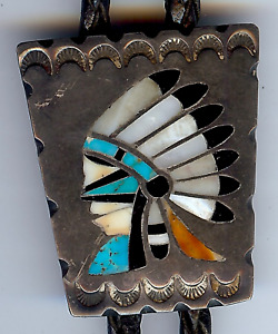 VINTAGE ZUNI INDIAN SILVER INLAID TURQUOISE CORAL SHELL CHIEF BOLO TIE