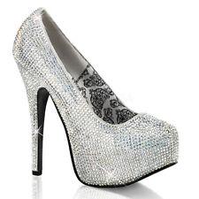 Rhinestone Covered High Heel Womens Court Prom Bridal Shoe - Size 8