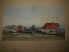 Early 20th C Watercolour Painting of a Farmhouse Monogramed & Dated  JWS '01