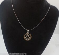 AA Symbol Circle Triangle Necklace Stainless Steel Black Cord Sobriety Al-Anon