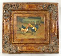 """Signed H KATZ 19"""" X 17"""" Still Life ROOSTER Oil Painting Board Ornate Gold Frame"""